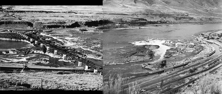 Celilo Falls Panorama 1940-56 - Oregon Historical Society
