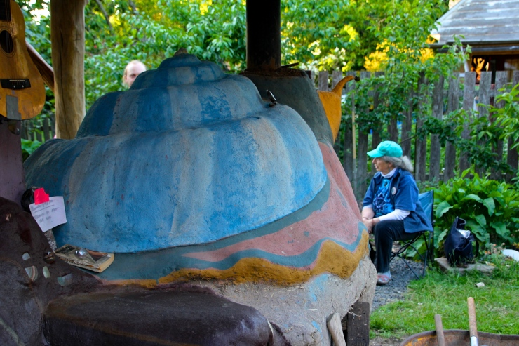 Snail Cob Oven with Marian visiting in the Garden