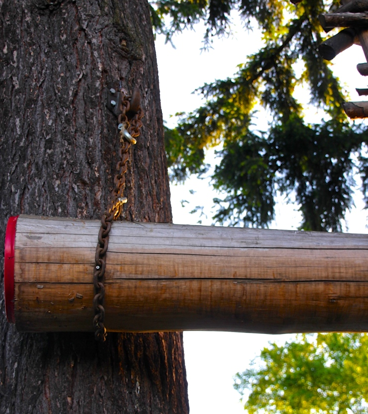 Detail of TreeHouse Beam allowing house to flex with the Winds