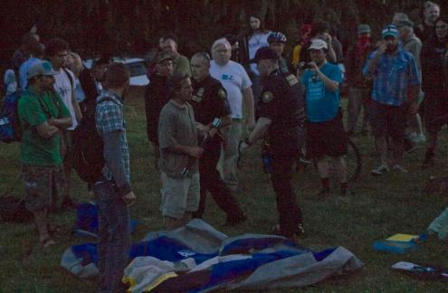 Tent being taken down