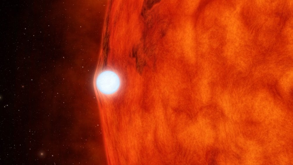 A Red Star - where metals are beginning  to be made - with an old white dwarf - showing a lens  effect - a nasa artist used keppler data to construct this image