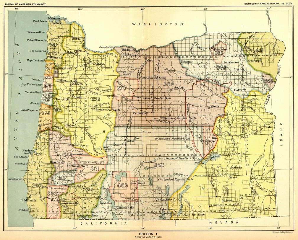 Oregon Indian Land Cessions according to the US Federal Government - Map 1