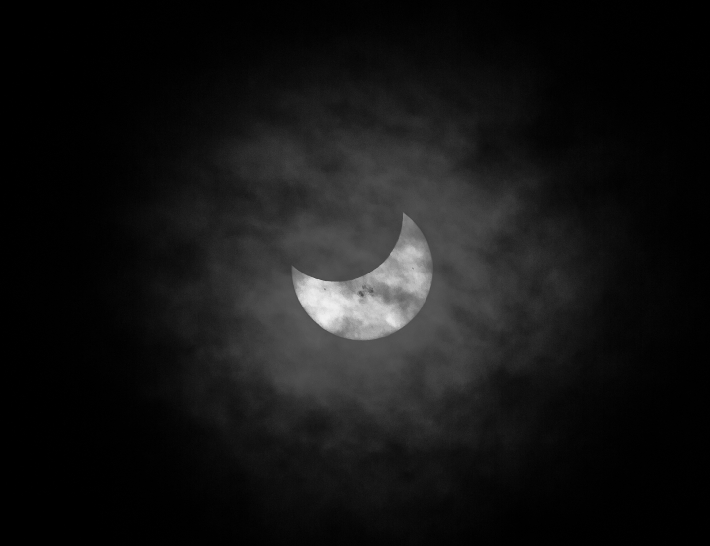 Solar Eclipse : Looking into Sun with Moon, Red Tail, Crow andThunderbird