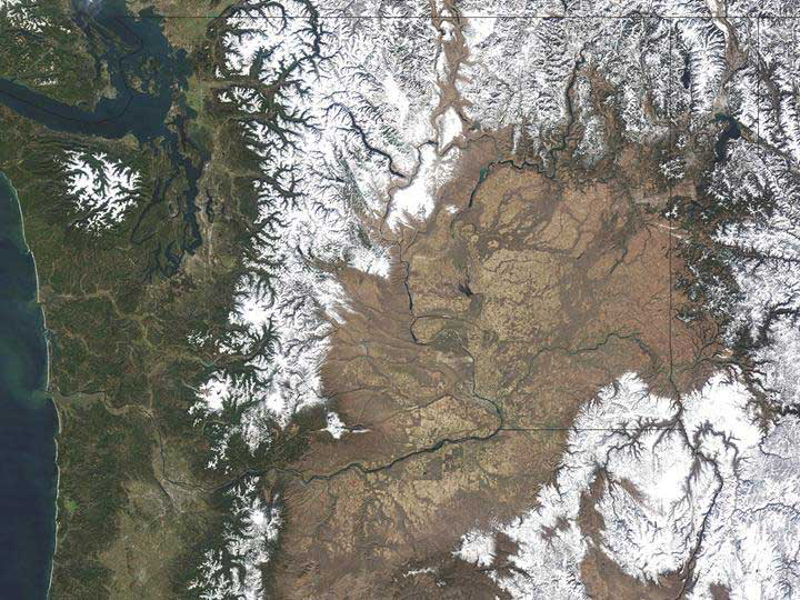 The Columbia River Basin from space - Courtesy of NASA