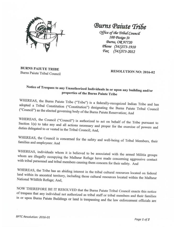 Burns Paiute Tribe Resolution No: 2016-02